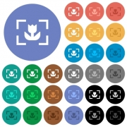Camera macro mode multi colored flat icons on round backgrounds. Included white, light and dark icon variations for hover and active status effects, and bonus shades on black backgounds. - Camera macro mode round flat multi colored icons