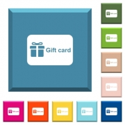 Gift card with text white icons on edged square buttons in various trendy colors - Gift card with text white icons on edged square buttons