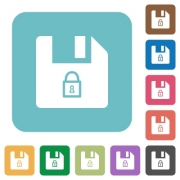 Lock file white flat icons on color rounded square backgrounds - Lock file rounded square flat icons