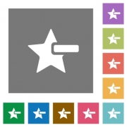 Remove star flat icons on simple color square backgrounds - Remove star square flat icons