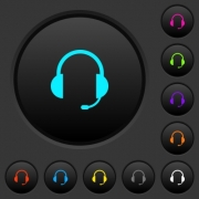 Headset with microphone dark push buttons with vivid color icons on dark grey background - Headset with microphone dark push buttons with color icons