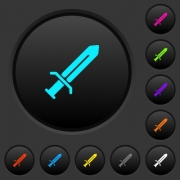 Sword dark push buttons with vivid color icons on dark grey background - Sword dark push buttons with color icons