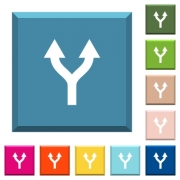 Split arrows up white icons on edged square buttons in various trendy colors - Split arrows up white icons on edged square buttons