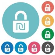 Locked Shekels flat white icons on round color backgrounds - Locked Shekels flat round icons
