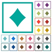 Diamond card symbol flat color icons with quadrant frames on white background - Diamond card symbol flat color icons with quadrant frames