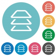 Multiple layers flat white icons on round color backgrounds - Multiple layers flat round icons