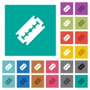 Razor blade multi colored flat icons on plain square backgrounds. Included white and darker icon variations for hover or active effects. - Razor blade square flat multi colored icons