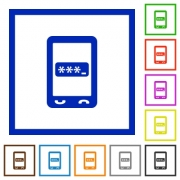 Mobile pin code flat color icons in square frames on white background - Mobile pin code flat framed icons