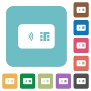 NFC chip card white flat icons on color rounded square backgrounds - NFC chip card rounded square flat icons