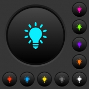 Lighting bulb dark push buttons with vivid color icons on dark grey background - Lighting bulb dark push buttons with color icons