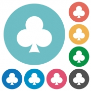 Club card symbol flat white icons on round color backgrounds - Club card symbol flat round icons