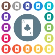 five of clubs card flat white icons on round color backgrounds. 17 background color variations are included.