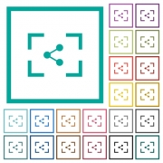 Camera share image flat color icons with quadrant frames on white background - Camera share image flat color icons with quadrant frames