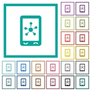 Mobile social networking flat color icons with quadrant frames on white background - Mobile social networking flat color icons with quadrant frames