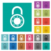 Locked round combination lock multi colored flat icons on plain square backgrounds. Included white and darker icon variations for hover or active effects. - Locked round combination lock square flat multi colored icons
