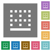 Bottom border flat icons on simple color square backgrounds - Bottom border square flat icons