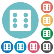 Dice six flat white icons on round color backgrounds - Dice six flat round icons