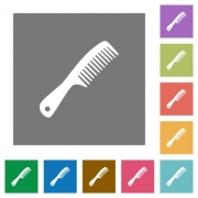 Comb with handle flat icons on simple color square backgrounds - Comb with handle square flat icons