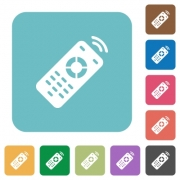 Working remote control white flat icons on color rounded square backgrounds - Working remote control rounded square flat icons