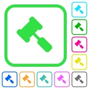 Judge hammer vivid colored flat icons in curved borders on white background - Judge hammer vivid colored flat icons