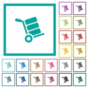 Hand truck with boxes flat color icons with quadrant frames on white background - Hand truck with boxes flat color icons with quadrant frames