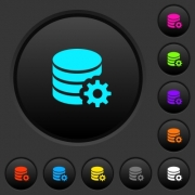 Database configuration dark push buttons with vivid color icons on dark grey background - Database configuration dark push buttons with color icons