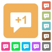 Plus one sign flat icons on rounded square vivid color backgrounds. - Plus one sign rounded square flat icons