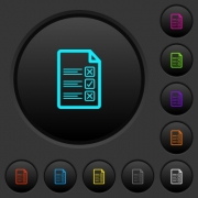 Questionnaire document dark push buttons with vivid color icons on dark grey background - Questionnaire document dark push buttons with color icons