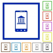 Mobile banking flat color icons in square frames on white background - Mobile banking flat framed icons
