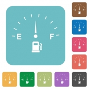 Fuel indicator white flat icons on color rounded square backgrounds - Fuel indicator rounded square flat icons