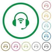Wireless headset flat color icons in round outlines on white background - Wireless headset flat icons with outlines
