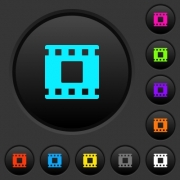 Movie stop dark push buttons with vivid color icons on dark grey background - Movie stop dark push buttons with color icons - Large thumbnail