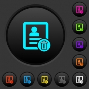 Delete contact dark push buttons with vivid color icons on dark grey background - Delete contact dark push buttons with color icons - Large thumbnail
