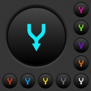 Merge arrows down dark push buttons with vivid color icons on dark grey background - Merge arrows down dark push buttons with color icons