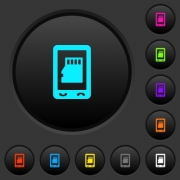 Mobile memory card dark push buttons with vivid color icons on dark grey background - Mobile memory card dark push buttons with color icons - Large thumbnail
