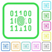 Digital fingerprint vivid colored flat icons in curved borders on white background