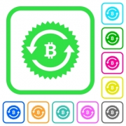 Bitcoin pay back guarantee sticker vivid colored flat icons in curved borders on white background