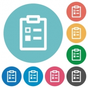 Survey flat white icons on round color backgrounds - Survey flat round icons