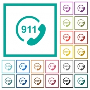 Emergency call 911 flat color icons with quadrant frames on white background - Emergency call 911 flat color icons with quadrant frames