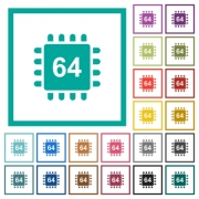 Microprocessor 64 bit architecture flat color icons with quadrant frames on white background - Microprocessor 64 bit architecture flat color icons with quadrant frames