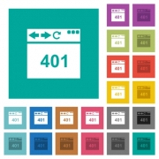 Browser 401 Unauthorized multi colored flat icons on plain square backgrounds. Included white and darker icon variations for hover or active effects. - Browser 401 Unauthorized square flat multi colored icons