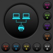 Network printing dark push buttons with vivid color icons on dark grey background - Network printing dark push buttons with color icons