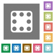 Domino eight flat icons on simple color square backgrounds - Domino eight square flat icons