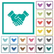 Partnership flat color icons with quadrant frames on white background - Partnership flat color icons with quadrant frames