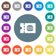 Fast food restaurant discount coupon flat white icons on round color backgrounds. 17 background color variations are included. - Fast food restaurant discount coupon flat white icons on round color backgrounds