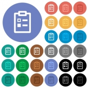 Survey multi colored flat icons on round backgrounds. Included white, light and dark icon variations for hover and active status effects, and bonus shades. - Survey round flat multi colored icons