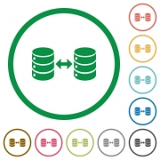 Syncronize databases flat color icons in round outlines on white background - Syncronize databases flat icons with outlines