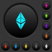 Ethereum classic digital cryptocurrency dark push buttons with vivid color icons on dark grey background - Ethereum classic digital cryptocurrency dark push buttons with color icons