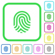 Fingerprint vivid colored flat icons in curved borders on white background - Fingerprint vivid colored flat icons