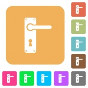 Right handed door handle with screws flat icons on rounded square vivid color backgrounds. - Right handed door handle with screws rounded square flat icons